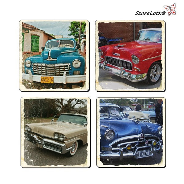 Set of 4 coasters in cup theme old cars wood decoupage for Car themed kitchen
